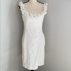 Maggy L white cotton dress with flower detail - 8
